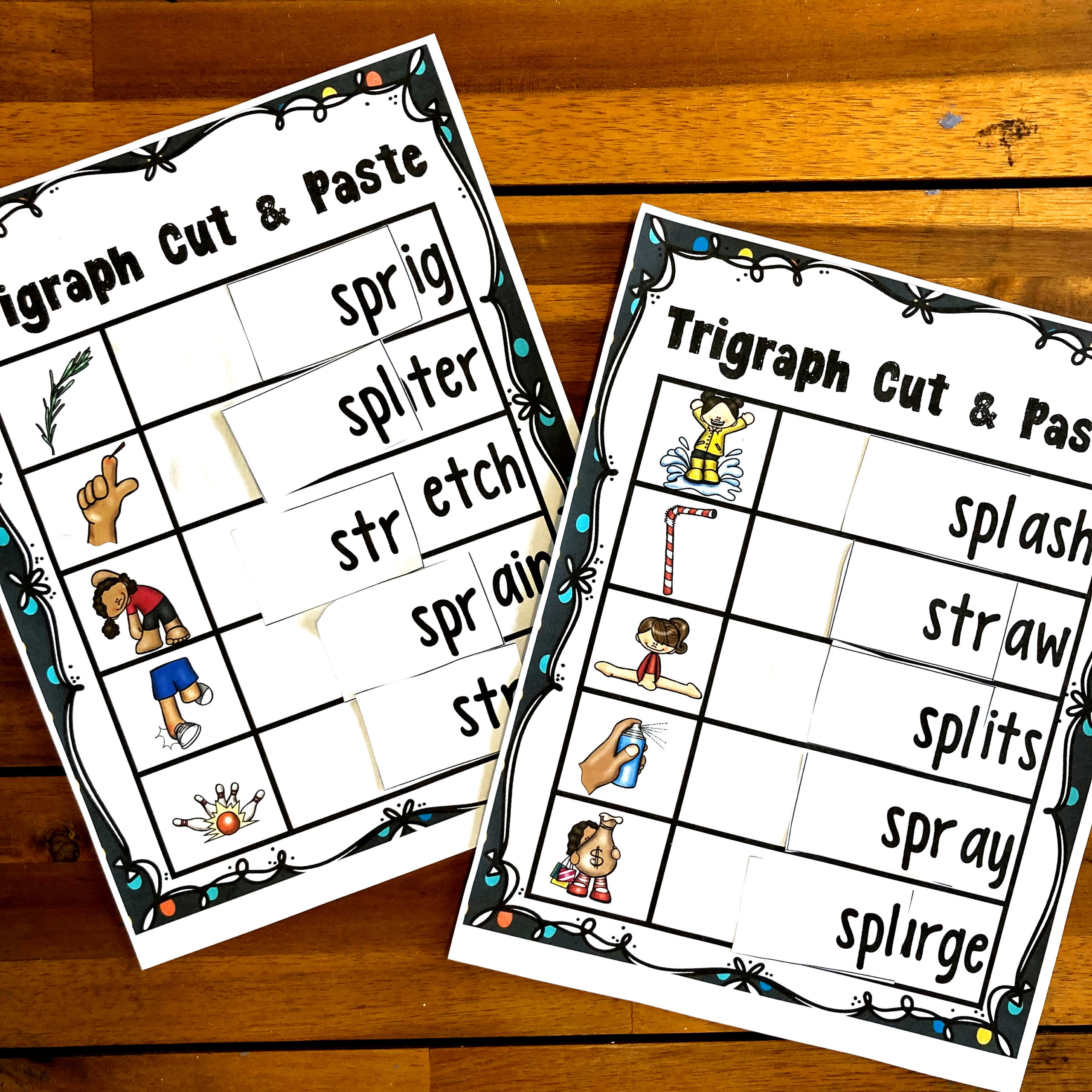 cut and paste worksheets for first graders
