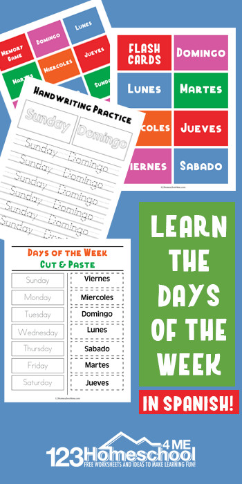 Free Spanish Days Of The Week Worksheets