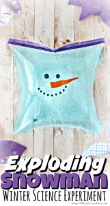 This outrageously FUN Exploding Snowman is a fun winter science experiment for kids of all ages from toddler, preschool, pre-k, kindergarten, first grade, and 2nd grade students. This STEM experiment is super simple to try using common materials you already have in your kitchen! Use this as a snowman activity to teach kids a little chemistry with this baking soda and vinegar experiment.