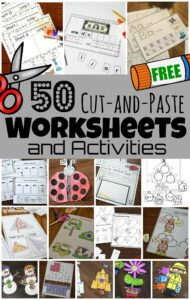 Cut and paste worksheets give kids a hands-on way to practice a variety of skills. These free cut and paste worksheets include reading, math, science and more. These cut and paste activities are perfect for preschool, pre-k, kindergarten, first grade, 2nd grade, 3rd grade, and 4th graders.