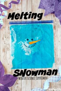 add vinegar to the ziplock bag to make a cute melting snowman that is about to explode!