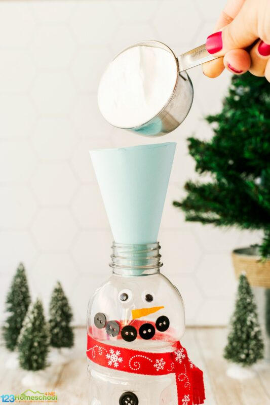 silly vinegar and baking soda eruptions snowman activities