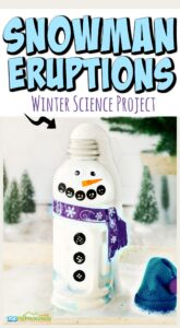 Kids will love this fun snowman activity that allows them to sneak in a little science to a cold, winter day! Snowman eruptions are so easy, and this is such a cute project for toddler, preschool, pre-k, kindergarten, and first grade students.  In these winter science experiments children will watch the effect of baking soda and vinegar in a silly and outrageously FUN snow experiments.