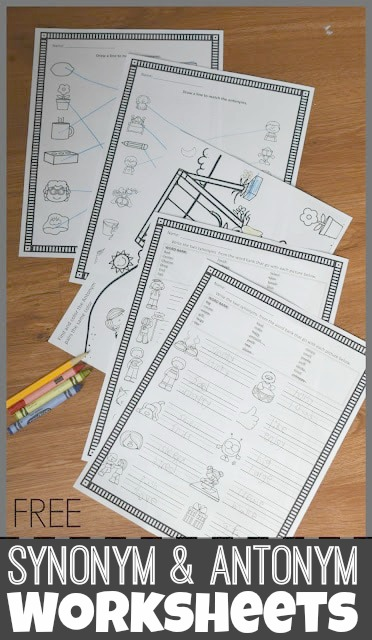 You will love these super convenient, no prep, and free synonym worksheets for first grade, 2nd grade, 3rd grade, and 4th grade students. Also including in the download with pdf file are antonym worksheets. These free homeschool worksheets are handy to help kids learn and review a variety of language arts skills while having fun!