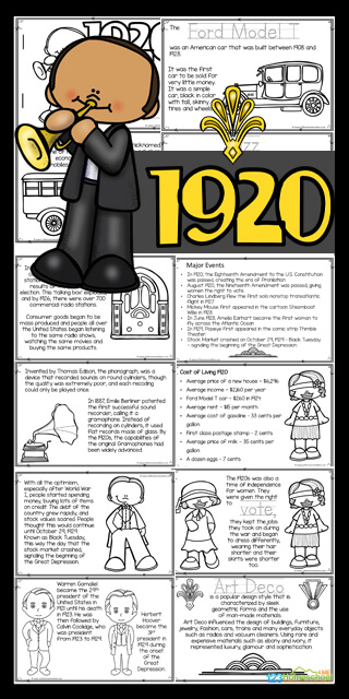 Learn all about the Roaring Twenties with this fun 1920s for Kids Reader. This 20s printables area great way to work on reading skills while learning about american history for kids. Use this free printable as part of a famous person, History or 1920s study for preschool, pre k, kindergarten, first grade, 2nd grade, 3rd grade, 4th grade, and 5th grade students. Simply download pdf file with the roaring twenties worksheet to learn aboutlife in the 1920s.