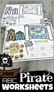 Have fun learning you're ABCs with this super fun, free printable pirate worksheets. This pirate alphabet learning activity is a great for your toddler, preschool, pre-k, and kindergarten age  students to learn their alphabet letters. On each of the pirate theme abc worksheets is a treasure map to find and color the clipart with the beginning sound featured on the alphabet workheet, alphabet tracing by the pirtae skull and crossbone flag, and find the letter by the treasure chest. This alphabet activity is such a fun, no prep way to learn letters from A to Z. Simply download the pdf file for this preschool pirate theme printables that requires no prep work whatsoever.