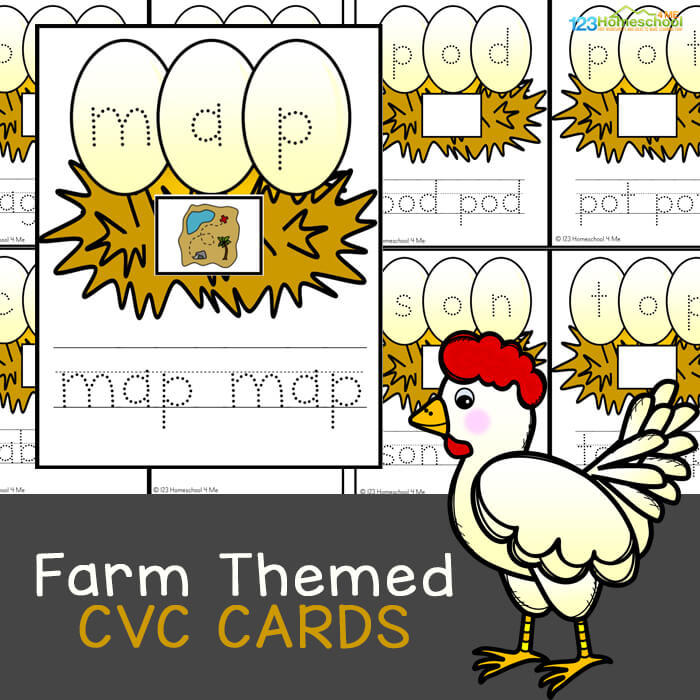This super cute, free printable, farm CVC Word Games is perfect for helping preschool, pre-k, kindergarten, and first grade students practice cvc words with a fun a farm printables.This cvc words activities is a fun litearcy activity to help early readers with a fun down on the farm theme perfect for spring or fall. Simply download CVC Words Printable pdf file with to add some fun to your cvc words practice.