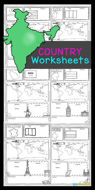 Children will love learning about over thirty different countries from around the world for kids with these fun Country Worksheets. Grab these free printable Country Worksheets for first grade, 2nd grade, 3rd grade, 4th grade, 5th grade, and 6th grade students to make learning about countries for kids - including different cultures, country map, country flag, where in the world, famous landmarks, interesting facts, population, and emblems fun and easy! Simply download pdf file with countries and nationalities worksheet pdf and you are ready to learn!