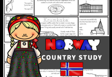 Learning about Norway for kids with these Free Norway Mini Books. The country of Norway is on the Scandinavian Peninsula with Sweden and Finland. Learn more about the Vikings as well as the food and fjords with these free mini books. These printable mini books help teach preschool, pre-k, kindergarten, first grade, 2nd grade, 3rd grade, 4th grade, 5th grade, and 6th graders about Greece; their way of life, the culture, landmarks and interests.