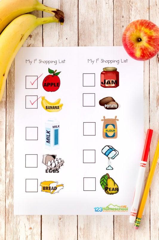 Grocery shopping worksheet