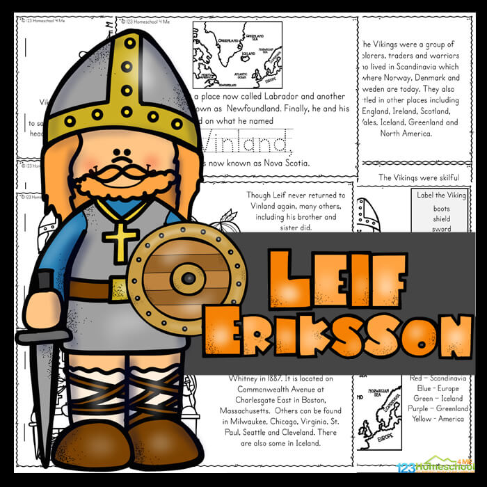 TheseLeif Erikson for kids Readers are a great way to work on reading skills while learning about a famous person from a different culture. Use this free leaf erickson printable as part of a Viking, Norway or Scandinavia theme for preschool, pre k, kindergarten, first grade, 2nd grade, 3rd grade, 4th grade, and 5th grade students. This is such a fun history lesson for kids. Simply download pdf file withLeif Erikssonworksheetsand you are ready to read, play, and learn!