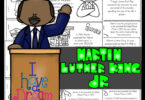 Learn about the famous freedom fighter martin luther king jr for kids with this free printable to read, color, and learn. January 18th is Martin Luther King Jr Day which is a great time for learning about  a person who made a difference in this world. Use these martin luther king jr worksheets by their own ormake a reader to go along with Black History Month for Kids, American History for kids, or a 1950s study for preschool, pre k, kindergarten, first grade, 2nd grade, 3rd grade, 4th grade, and 5th grade students. SImply download pdf file with free martin luther king worksheets and you are ready to make history come alive for elementary age children.