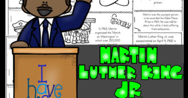 Learn about the famous freedom fighter martin luther king jr for kids with this free printable to read, color, and learn. January 18th is Martin Luther King Jr Day which is a great time for learning about a person who made a difference in this world. Use thesemartin luther king jr worksheets by their own ormake a reader to go along with Black History Month for Kids, American History for kids, or a 1950s study for preschool, pre k, kindergarten, first grade, 2nd grade, 3rd grade, 4th grade, and 5th grade students. SImply download pdf file withfree martin luther king worksheetsand you are ready to make history come alive for elementary age children.