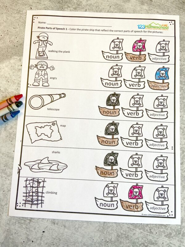 fun pirate themed Nouns and adjectives worksheets for grade 1, grade 2, grade 3, grade 4, grade 5, and grade 6 students