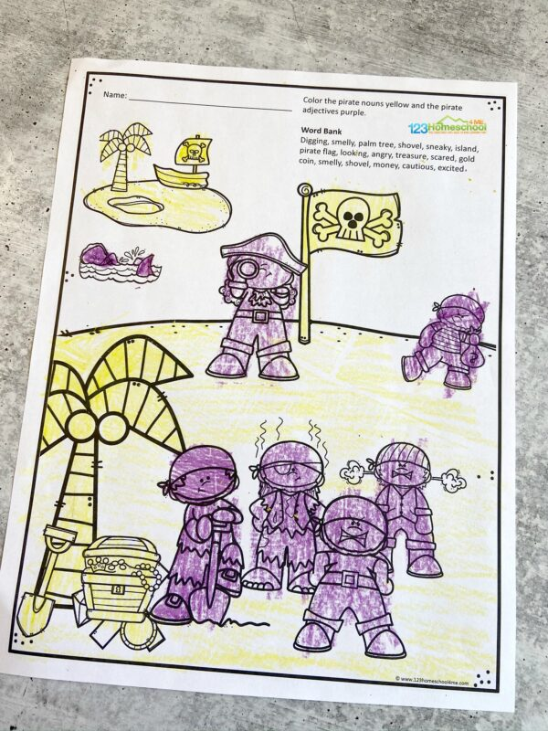 pirate themed Parts of speech exercises where kids will color by noun, verb, or adjective