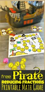 Ahoy there! This funreducing fractions game has a fun pirate them to help kids get excited about practicingsimplifying fractions. Thisprintable math gameis such a funreducing fractions activityfor third grade, 4th grade, 5th grade, and 6th grade students. Simply download pdf file withfree math games for kids and you are ready to play and learn. This is such a fun way to teachfractions for kids.
