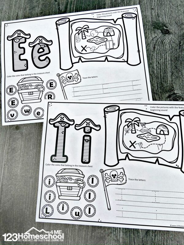 Preschool pirate theme printables to help preschoolers and kindergartner learn their alphabet letters, beginning sounds, letter recognition, and trace alphabet letters too
