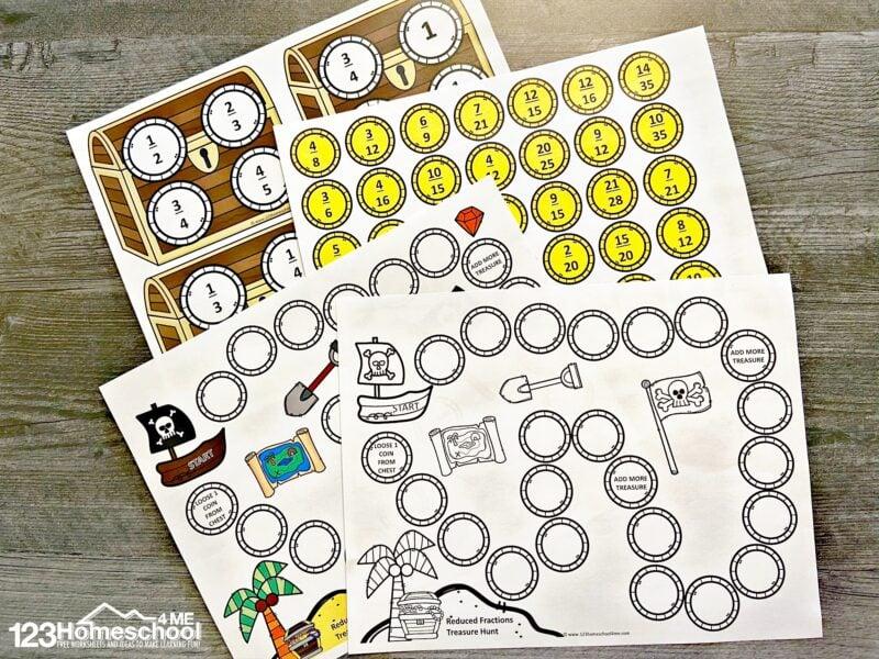 pirate themed Printable Math Game
