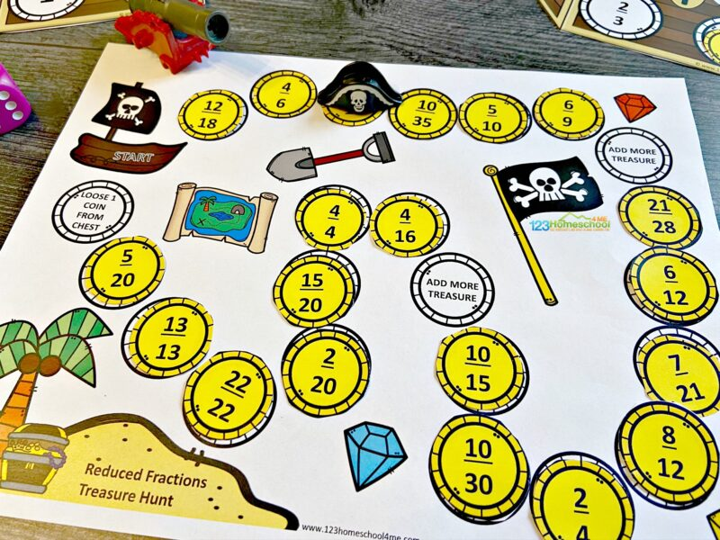 pirate theme Reducing Fractions Activity