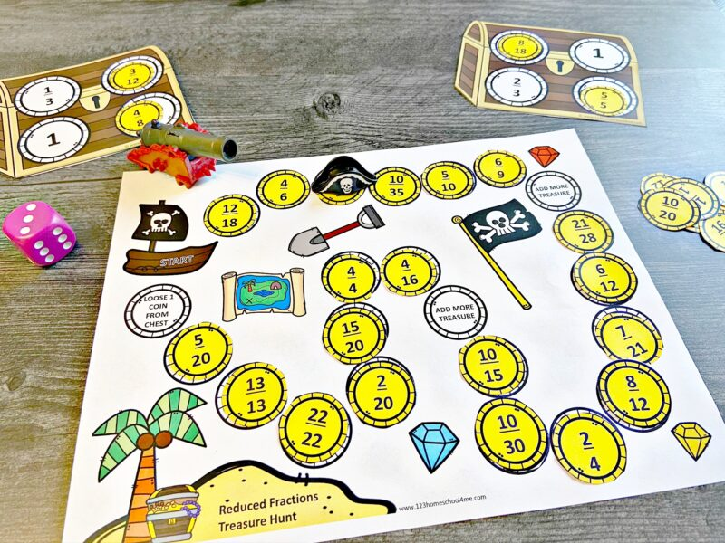 super cute pirate themed Reducing Fractions Practice for grade 3, grade 4, grade 5, and grade 6 students.