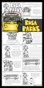 This Rosa Parks Printable is a great way to work on reading skills while learning about a person who made a difference in this world.  Kids will read, color and learn about Rosa Parks for kids with this rosa parks activity.  Whether you use this rosa parks worksheet and rosa parks coloring page activity to learn about a famous american freedom fighter or as a Black History Monty Printable, this is such a handy resource for elementary age children. Use this famous historical female reader with preschool, pre-k, kindergarten, first grade, 2nd grade, 3rd grade, 4th grade, and 5th grade students. Simply download pdf file with rosa parks free printables, print, and go!