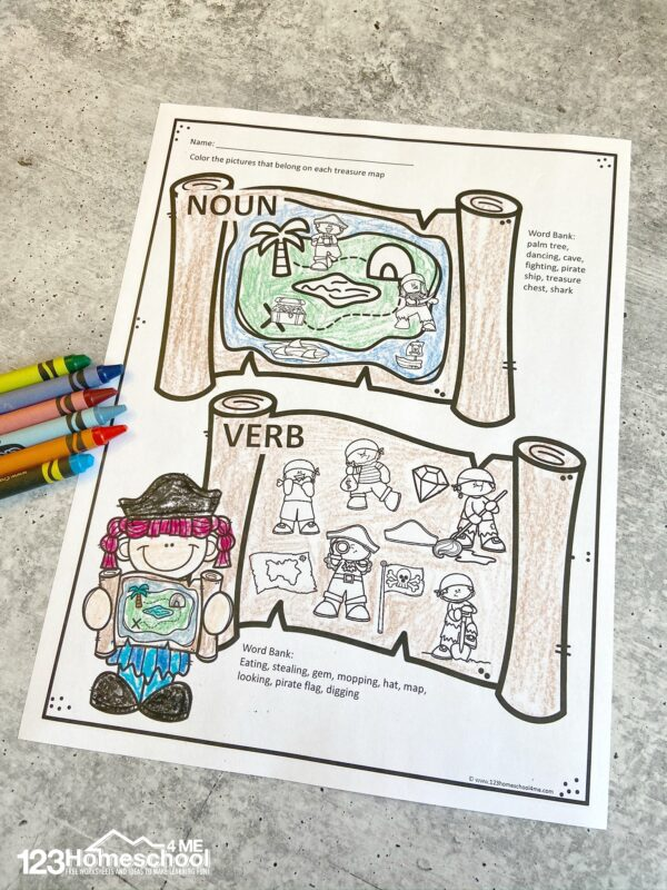 super cute Worksheets parts of speech where your little buchanear will color the pirate treasure maps to reveal the noun, verb, and adjective pirate clipart to practice grammar while having fun!