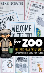 There is something about pretend play props that help kids feel like they are official. This 21 page pack of zoo printables will have your toddler, preschool, pre-k, kindergarten, and first grade students feel I'm A Zoo Keeper! Use these community helper pages for your dramatic play for preschoolers.