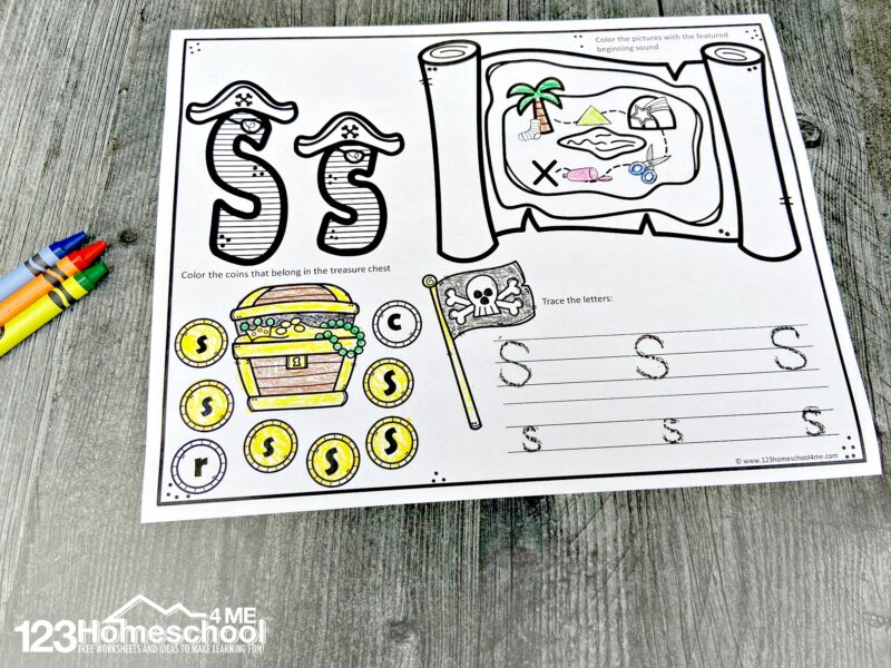 super cute pirate themed ABC Worksheets for toddler, preschool, pre-k, and kindergarten
