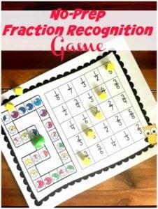 No Prep printable fractions game