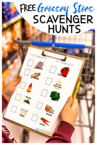 Kids will not only have fun at the grocery store, but they will learn with thsis FREE printablegrocery store scavenger hunt for kids. This grocery store scavenger hunt worksheet is perfect for toddler, preschool, pre-k, kindergarten, first grade, 2nd grade, 3rd grade, and 4th grade students as there are many options. Younger children can look for items of a certain color or a specific list while elementary age students can do an ABC grocery store scavenger hunt or find items from around the country or world. There are also pages for comparing pricing, cost of shopping trip, and a blank grocery store list. SImply print pdf file with grocery shopping worksheetsand you are ready to learn while having fun with aeducational kids activity shopping.