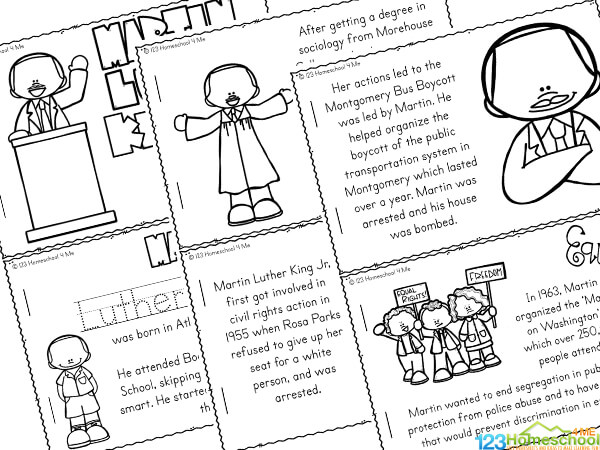 Martin Luther King Jr For Kids Printable Reader To Color And Learn