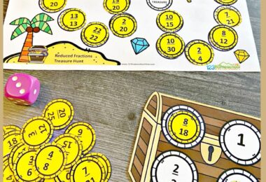 Ahoy there! This fun reducing fractions game has a fun pirate them to help kids get excited about practicing simplifying fractions. This printable math game is such a fun reducing fractions activity for third grade, 4th grade, 5th grade, and 6th grade students. Simply download pdf file with free math games for kids and you are ready to play and learn. This is such a fun way to teach fractions for kids.