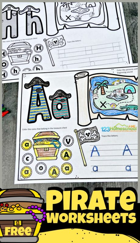 Have fun learning you're ABCs with this super fun, free printablepirate worksheets. This pirate alphabet learning activity is a great for your toddler, preschool, pre-k, and kindergarten age students to learn their alphabet letters. On each of the pirate theme abc worksheets is a treasure map to find and color the clipart with the beginning sound featured on the alphabet workheet, alphabet tracing by the pirtae skull and crossbone flag, and find the letter by the treasure chest. This alphabet activity is such a fun, no prep way to learn letters from A to Z. Simply download the pdf file for thispreschool pirate theme printables that requires no prep work whatsoever.