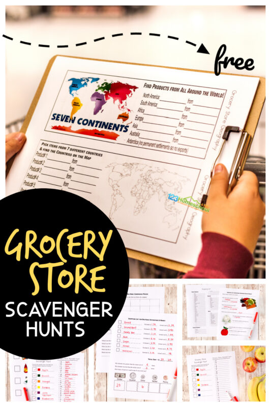 Kids will not only have fun at the grocery store, but they will learn with thsis FREE printablegrocery store scavenger hunt for kids. This grocery store scavenger hunt worksheet is perfect for toddler, preschool, pre-k, kindergarten, first grade, 2nd grade, 3rd grade, and 4th grade students as there are many options. Younger children can look for items of a certain color or a specific list while elementary age students can do an ABC grocery store scavenger hunt or find items from around the country or world. There are also pages for comparing pricing, cost of shopping trip, and a blank grocery store list. SImply download pdf file with grocery shopping worksheetsand you are ready to learn while having fun with aeducational kids activity shopping.