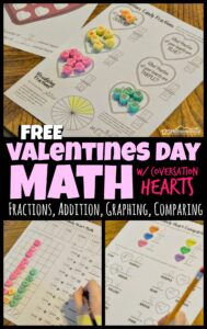 Kids of all ages will love this fun Valentines Math with Conversation Hearts! After you play the fun valentines day heart candy game, you use your filled up candy box to complete these fun Valentines Day math worksheets which include candy heart fractions . With math from counting and graphing to conversation heart fractions, this math activity for valentines day is perfect for toddler, preschool, pre-k, kindergarten, first grade, 2nd grade, 3rd grade, and 4th grade students. Simply download pdf file withvalentines day worksheets and print the pages with the skills that are appropriate for your kids.