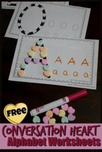 Alphabet valentines day worksheets with conversation hearts
