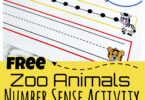 If you are looking for a fun idea for teaching number sense, you will love these super cute free zoo printables that are a hands-on Number Sense Activitiy.  Use thesenumber sense worksheets with preschool, pre-k, and kindergarten age student as they learn how number word, tally marks, sum of numbers, and numberals can all represent the same number.