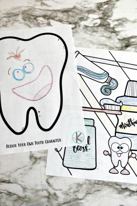 Dental coloring sheets