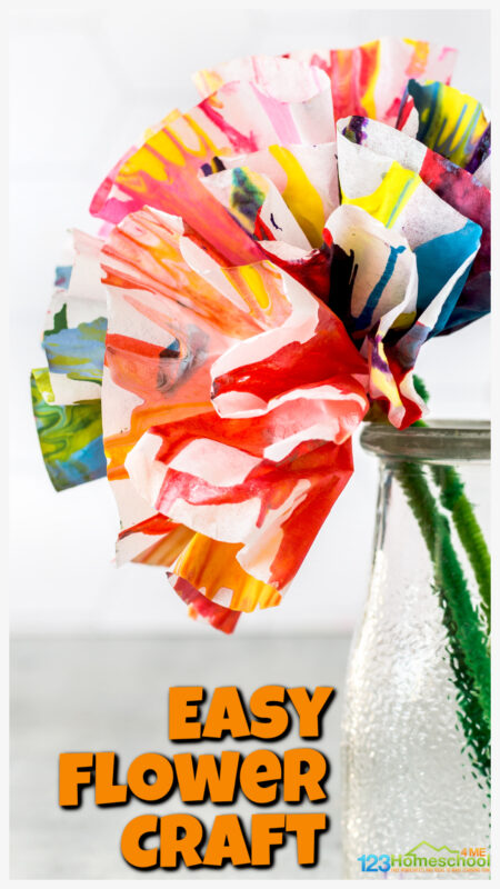 We came up this fun twist on spin art paint to make a beautiful flower craft for kids. This spring craft is perfect for toddler, preschool, pre-k, kindergarten, and first grade students. Children will love that this process art project makes a one-of-a-kind design perfect for making pretty flower crafts for prsechoolers. Thesecoffee filter flowers preschool make truly beautiful flower projects for spring!