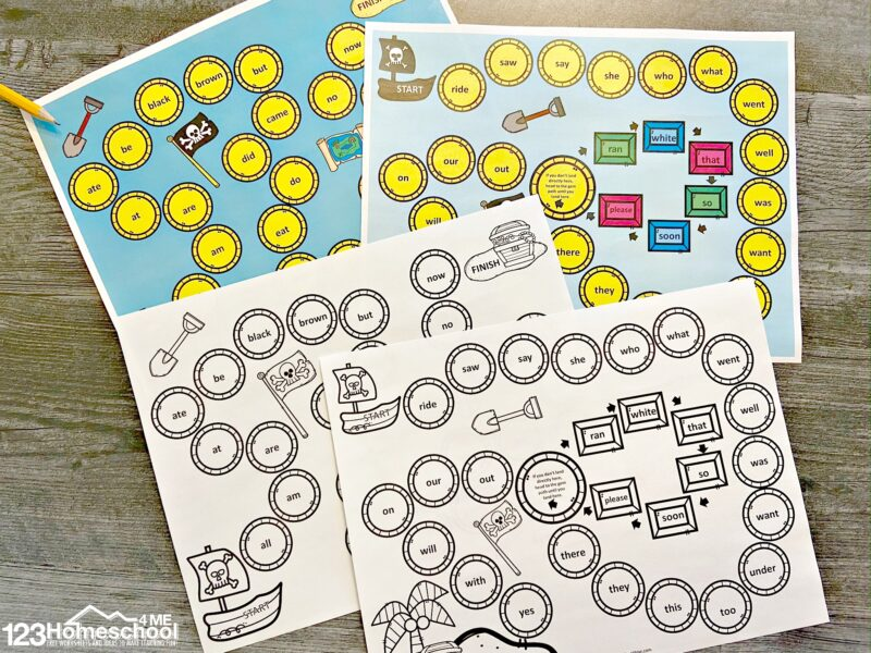 Free Sight Word Games - print the pirate sight word board game in color or black and white