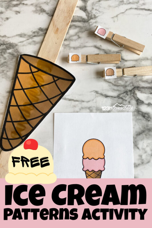 Make practicing completing patterns in early math with this fun, ice cream themedpatterns activity. Thisfun pattern activities is perfect for summer learning, ice cream theme, or anytime you want to sneak in a delicious math activity for kids. These are an engaging pattern activities for kindergarten, toddler, preschool, pre-k, and first grade is perfect for summer learning or an ice cream theme. Students will use the ice cream printables to complete the patterns and scoop up the ice cream cone. Simply download pdf file with patterns printable and you are ready to play and learn.