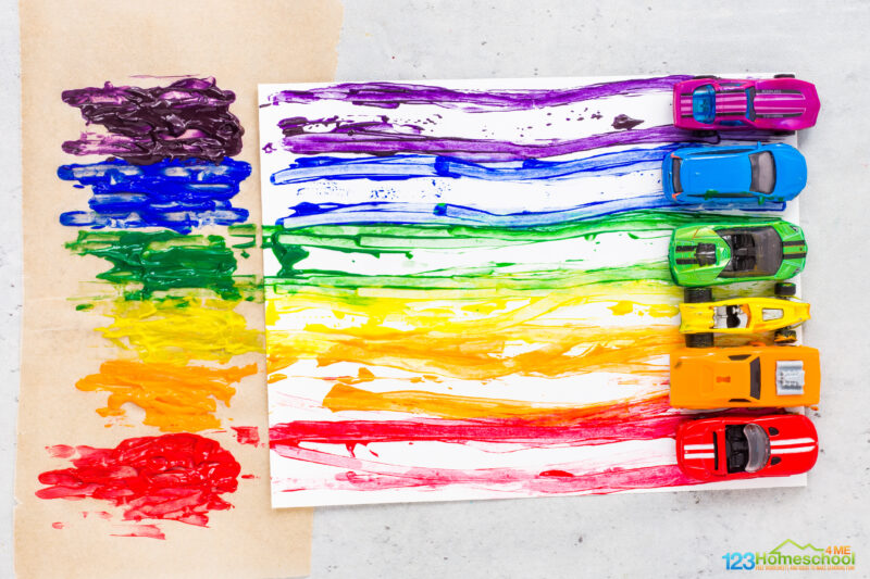 Painting with cars preschool