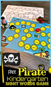 Make practicing primer sight words fun with this super cute, pirate themed Kindergarten Sight Words Game.  This free sight word games has a fun pirate theme to keep kids engaged and eager to practice. Download pdf file with sight word activities for kindergarten and you are ready to play and learn as you journey around the treasure map to collect treasures!