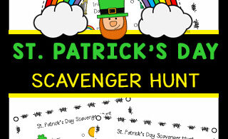 Have fun this Saint Patrick's Day with this free printable St. Patrick's Day Scavenger Hunt. Kids will enjoy walking around the neighborhood, their house, or a store as they get some exercise and have fun looking for the items on their scavenger hunt for kids. This is such a fun st patrick's day activities for toddler, preschool, pre-k, kindergarten, first grade, 2nd grade, and 3rd grade students. Simply download pdf file with St Patrick's Day Printables and have fun searching for different items such as a rainbow, pot of gold or clover in March.