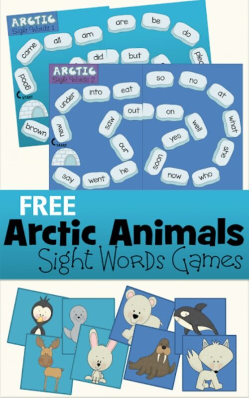 Make practicing sight words fun with this super cute, free printable sight word game. Pre-k, kindergarten, and first grade children will work on reading fluency as they review dolch primer sight words with this Arctic Animals themesight word activitity. Children wil help their penguin, polar bear, walrus, whale, moose, fox, seal, or hare work around the icebergs to get to shelts are they practice reading with this kindergarten sight words printables. Simply download pdf file withsight word printables and you are ready to play and learn!