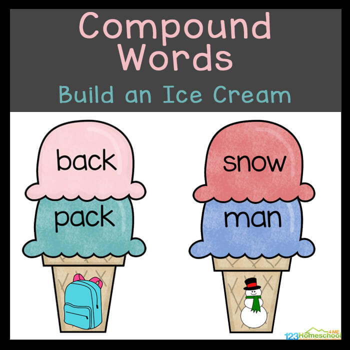 Kids will love this fun using the free ice cream printable for this Ice Cream Themed Compound Words Activity. This fun summer themed literacy activity shas kindergarten, first grade, 2nd grade, and 3rd grade students add ice cream scoop words to create the compound word pictured on the ice cream cone. This is such a fun by Simply download pdf file with compound words exercisesand you are ready to play and learn!
