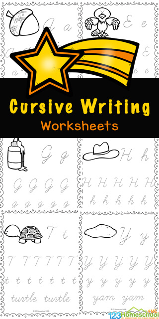 These no-prep Cursive Writing Worksheets are a great way for children in third grade, 4th grade, and 5th grade students to practice and improve their handwriting skills. You will love that these cursive writing practice pages are a free printable to print and go anytime you need practice with 3rd grade printables. Simply download pdf file withcursive writing worksheets pdf and you are ready for learning to write in curse.
