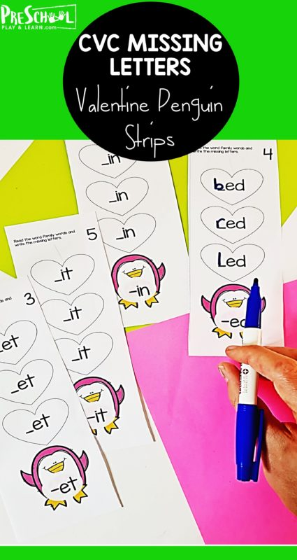 Help early readers work on reading and spellingShort Vowel CVC words with this super cute, valentines day activity for kindergarten and first grade students. Children willchoose a penguin printables card and find the matching short vowel sound and then use a dry erase markers to identify short vowel words that begin and belong to the same word family.
