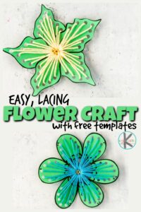Easy Lacing flower craft and art project for kids with free templates