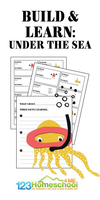 Use these under the sea printables to dive into the ocean with your preschool, pre-k, kindergarten, first grade, 2nd grade, 3rd grade, and 4th grade student for a funstem activity for kids. In thislego challenge, students will use the prompts to create ocean animals and items out of lego, duplo, bricks, or even playdough and then learn something about what they've created. Simply download pdf file with lego challenge ideas and you are read to play and learn!